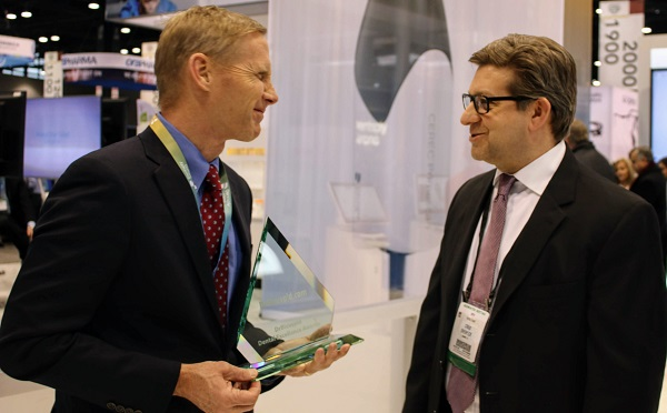Dentsply Sirona CEO Donald M. Casey Jr. and Dr.Bicuspid.com CEO Craig Overpeck